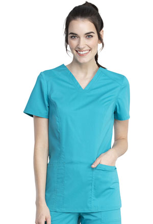 Cherokee Workwear V-Neck Top Teal Blue (WW741AB-TLB)