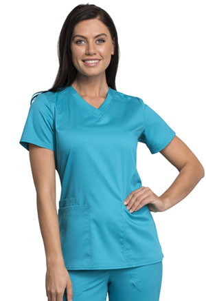 Cherokee Workwear V-Neck Top Teal Blue (WW770AB-TLB)