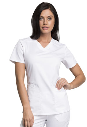Cherokee Workwear V-Neck Top White (WW770AB-WHT)