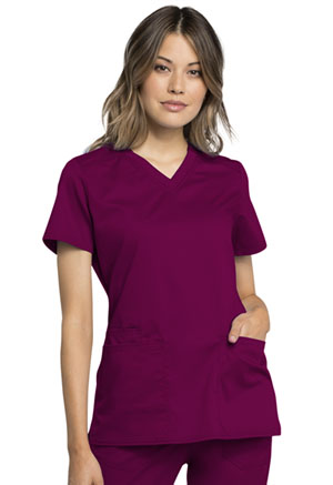 Cherokee Workwear V-Neck Top Wine (WW770AB-WIN)