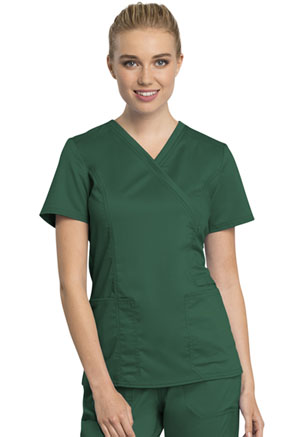 Cherokee Workwear Mock Wrap Top Hunter Green (WW775AB-HUN)