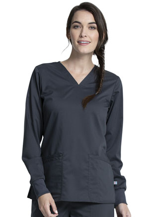 Cherokee Workwear Long Sleeve V-Neck Top Pewter (WW855AB-PWT)