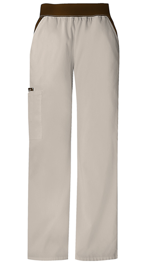 Cherokee Flexibles Women's Mid Rise Knit Waist Pull-On Pant Khaki