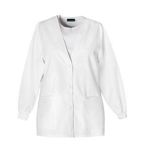 Cherokee Whites Women's Button Front Warm-Up Jacket White