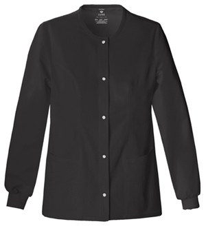 Cherokee Luxe Women's Snap Front Warm-Up Jacket Black
