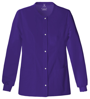 Cherokee Luxe Women's Snap Front Warm-Up Jacket Purple