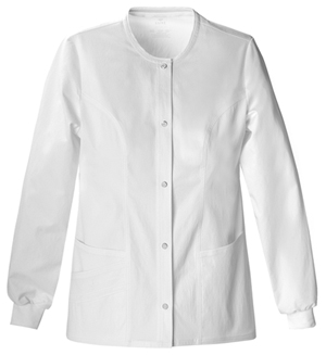 Cherokee Luxe Women's Snap Front Warm-Up Jacket White