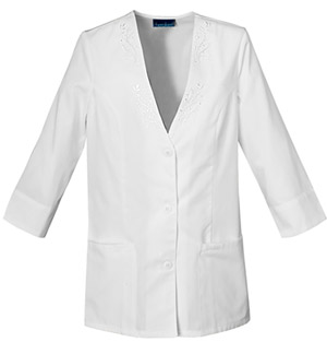 Cherokee Cherokee Whites Women's 3/4 Sleeve Embroidered Jacket White