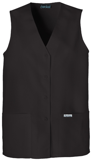 Cherokee Fashion Solids Women's Button Front Vest Black