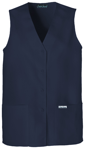 Cherokee Cherokee Fashion Solids Women's Button Front Vest Blue