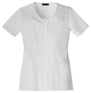 Cherokee Fashion Solids Women's V-Neck Embroidred Top White