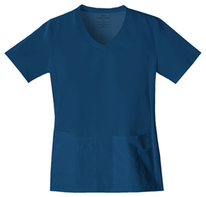 Cherokee Flexibles Women's V-Neck Knit Panel Top Blue
