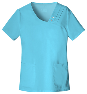 Cherokee Luxe Women's Crossover V-Neck Pin-Tuck Top Blue