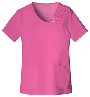 Luxe Women's Crossover V-Neck Pin-Tuck Top Pink