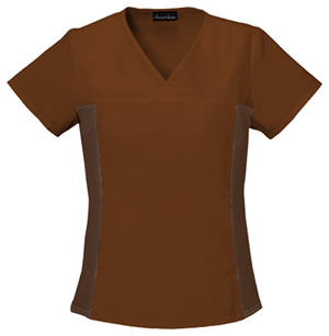 Flexibles Women's V-Neck Knit Panel Top Brown
