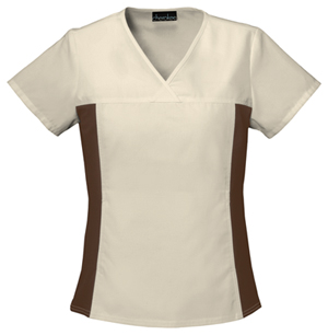 Flexibles Women's V-Neck Knit Panel Top Khaki