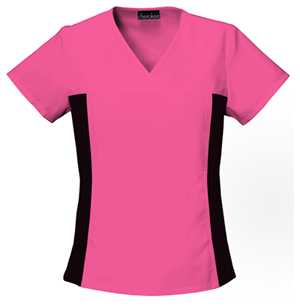 Flexibles Women's V-Neck Knit Panel Top Pink