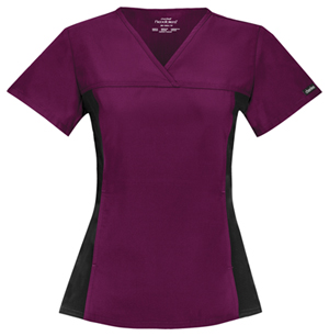 Cherokee V-Neck Knit Panel Top Wine (2874-WNBB)
