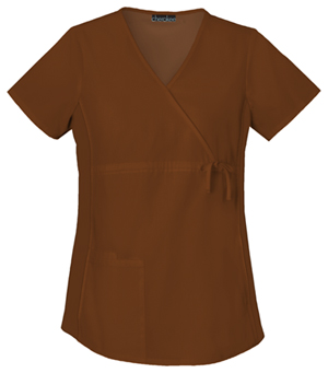 Cherokee Flexibles Women's Maternity Mock Wrap Knit Panel Top Brown