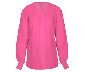 Cherokee Workwear Unisex Snap Front Warm-up Jacket Shocking Pink (34350A-SHPW)