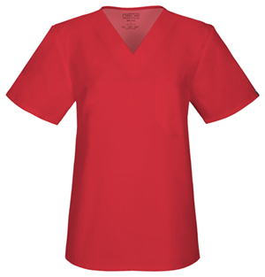 Cherokee Workwear WW Flex Unisex Unisex V-Neck Top Red