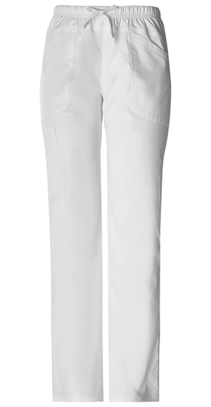 Cherokee Workwear WW Premium Women's Mid Rise Drawstring Cargo Pant White