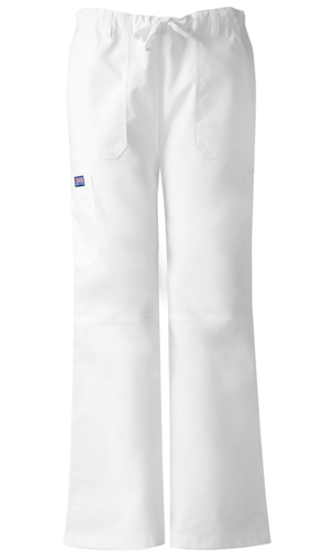 Cherokee Workwear WW Originals Women's Low Rise Drawstring Cargo Pant White