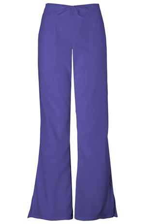 Cherokee Workwear WW Originals Women's Natural Rise Flare Leg Drawstring Pant Purple
