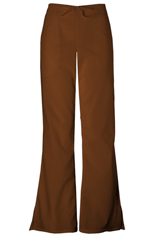 Cherokee Workwear WW Originals Women's Natural Rise Flare Leg Drawstring Pant Brown