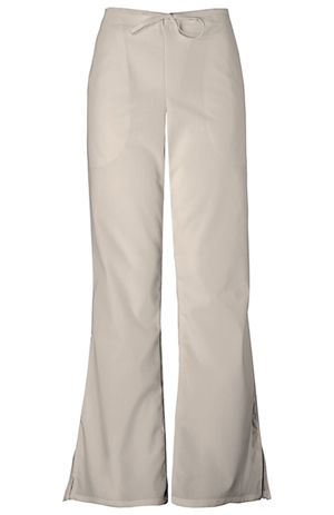 Cherokee Workwear WW Originals Women's Natural Rise Flare Leg Drawstring Pant Khaki