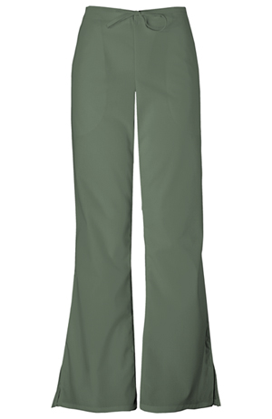 Cherokee Workwear WW Originals Women's Natural Rise Flare Leg Drawstring Pant Green