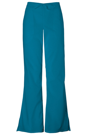 Cherokee Workwear WW Originals Women's Natural Rise Flare Leg Drawstring Pant Blue