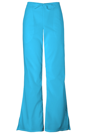 WW Originals Women's Natural Rise Flare Leg Drawstring Pant Blue