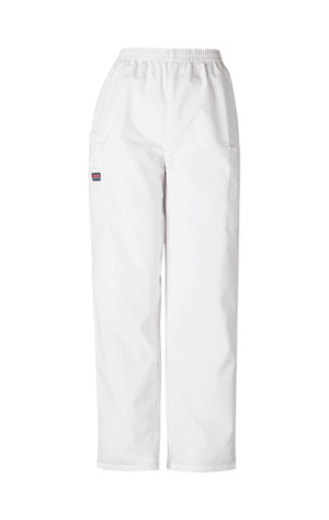 Cherokee Workwear WW Originals Women's Natural Rise Tapered LPull-On Cargo Pant White