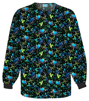 Scrub HQ Cherokee Prints Women's Snap Front Warm-Up Jacket Black