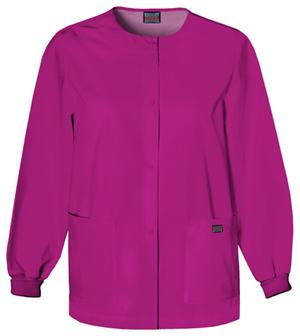 Cherokee Workwear WW Originals Women's Snap Front Warm-Up Jacket Pink