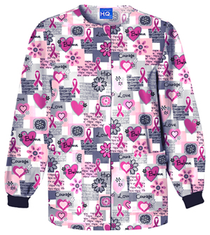 Scrub HQ Cherokee Prints Women's Snap Front Warm-Up Jacket White