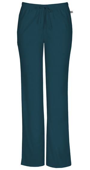 Cherokee Workwear WW Flex Women's Mid Rise Moderate Flare Drawstring Pant Blue