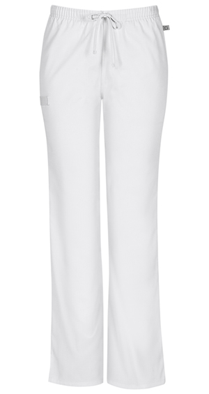Cherokee Workwear Mid Rise Moderate Flare Drawstring Pant White (44101A-WHTW)