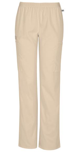 Cherokee Workwear WW Flex Women's Mid Rise Straight Leg Elastic Waist Pant Khaki