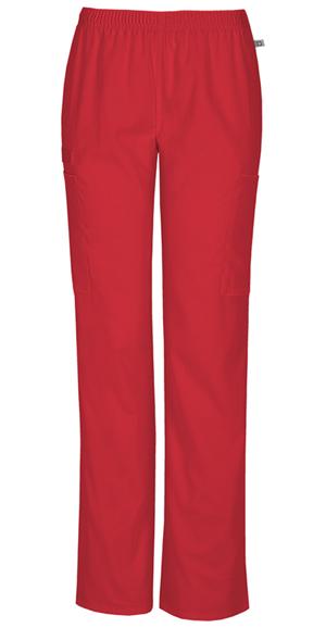 Cherokee Workwear WW Flex Women's Mid Rise Straight Leg Elastic Waist Pant Red