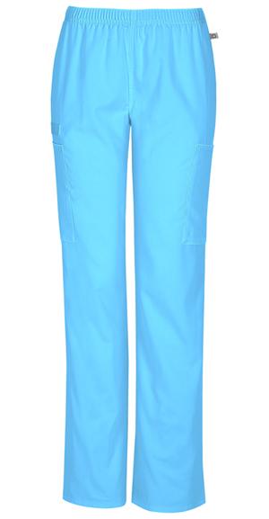 Cherokee Workwear WW Flex Women's Mid Rise Straight Leg Elastic Waist Pant Blue