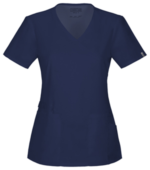 Cherokee Workwear WW Flex Women's Mock Wrap Top Blue