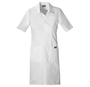 Cherokee Workwear WW Originals Women's Zip Front Dress White