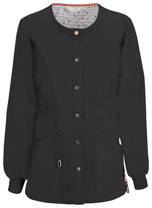 Code Happy Bliss Snap Front Warm-up Jacket in Black (46300AB - BXCH)