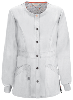 Code Happy Bliss Snap Front Warm-up Jacket in White (46300AB - WHCH)