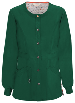Code Happy Bliss Snap Front Warm-up Jacket in Hunter Green (46300A - HNCH)