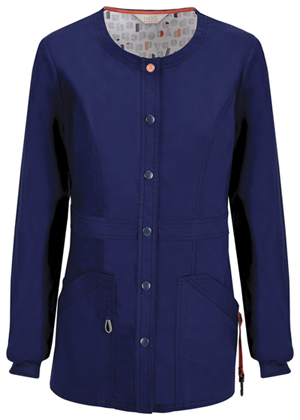 Code Happy Bliss Snap Front Warm-up Jacket in Navy (46300A - NVCH)