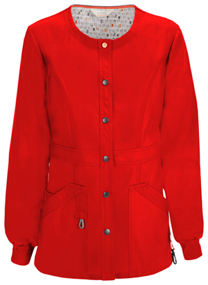 Code Happy Bliss Snap Front Warm-up Jacket in Red (46300A - RECH)