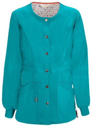 Code Happy Bliss Snap Front Warm-up Jacket in Teal (46300A - TLCH)